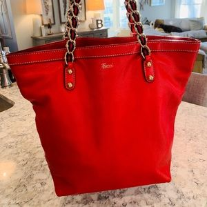 STUNNING Gucci Red and Blue Hobo Bag.